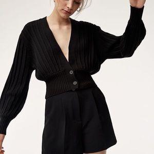 Aritzia Wilfred Thais Plunge front cardigan black